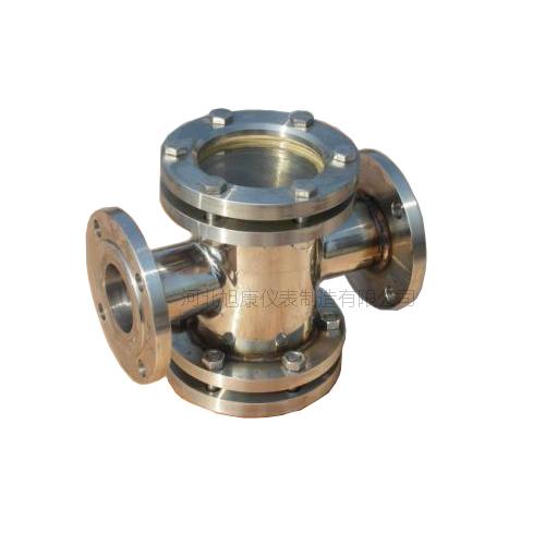 不锈钢法兰四通视镜 直通水流指示器